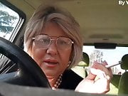 Italian granny masturbates in her car