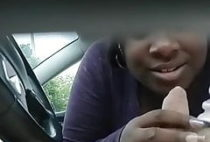 Black BBW street hooker car blowjob and CIM